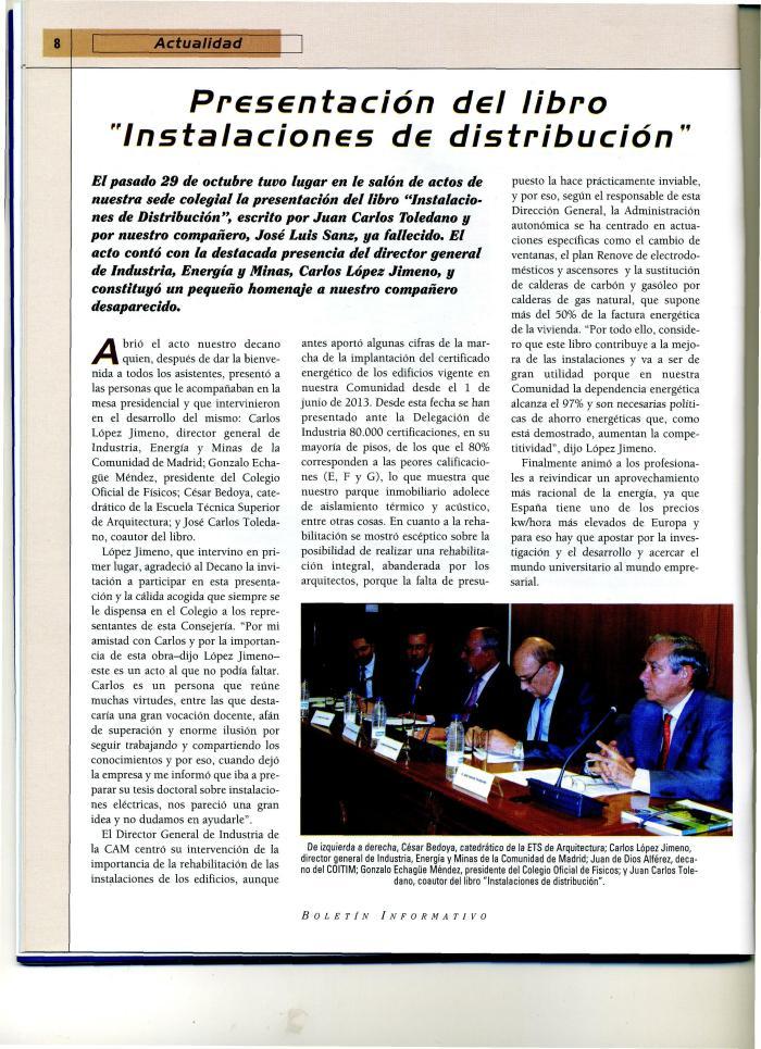 Nota presentación libro instalaciones COITI Dic 2013 2