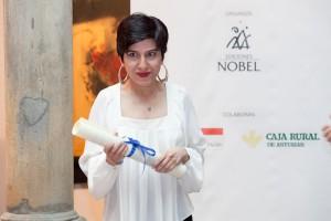 Acto de entrega del Premio Int. de Ensayo Jovellanos (Benigno Pendás) y el Premio Int. de Poesía (Sepideh Jodeyri), en el museo Casa Natal. © JORGE PETEIRO. Gijón, 18/06/2015.
